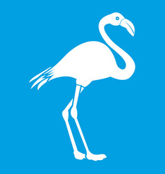 Flamingo icon white vector