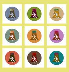 Flat icons set of volcano and man silhouette vector