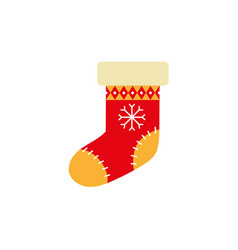 flat style knitted christmas stocking xmas icon vector image