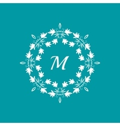 Floral monogram template vector