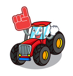 Foam finger tractor mascot cartoon style vector