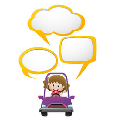 Girl in purple car with three speech bubbles vector