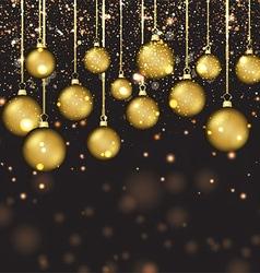 Golden Christmas baubles vector image
