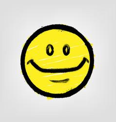 Graffiti emoticon smiling face painted spray vector