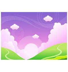 Green mountain beautiful sky vector image