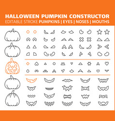halloween pumpkin simple line icons set vector image