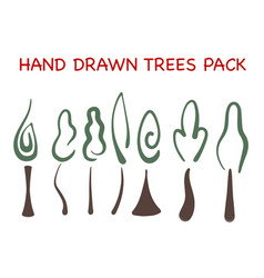 hand drawn tree pack vector image