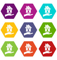 hand holding house icon set color hexahedron vector image