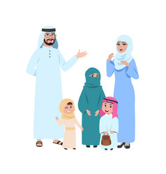 happy arab family muslim young people islamic vector image