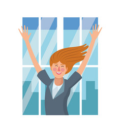 happy executive businesswoman vector image