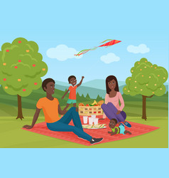Happy young african american family with kid vector