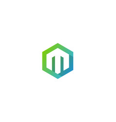 Hexagon letter m logo icon design vector