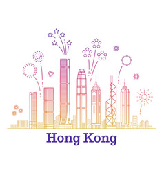 Hong kong city panorama with colorful vector
