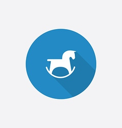 horse toy Flat Blue Simple Icon with long shadow vector image