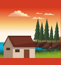 House in nature landscape vector