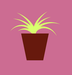 icon in flat design flower in pot aloe vector image