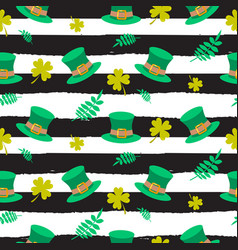 ireland saint patrick hat on striped seamless vector image