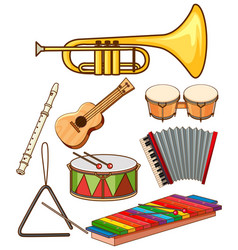 isolated set musical instruments vector image