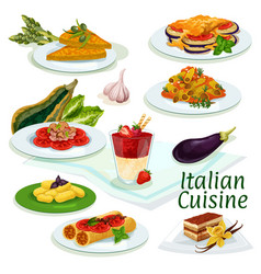 Italian cuisine traditional food cartoon icon vector