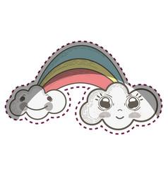 kawaii rainbow with happy clouds cartoons vector image