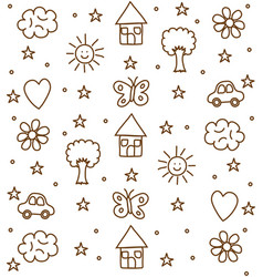 landscape doodle drawing pattern vector image