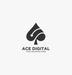 Logo ace digital silhouette style vector