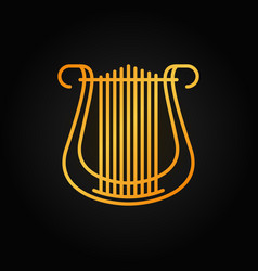 lyre outline golden icon on dark background vector image