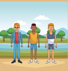 male friends at park vector image