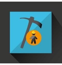 Man silhouette helmet and pick design graphic vector