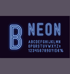 Neon rounded alphabet blue color outlined font vector