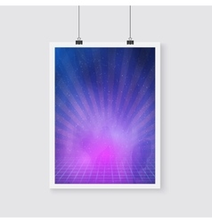 Outer Space Retro Neon Poster with Nebula vector image