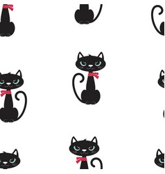 pattern with cute black cat vector image