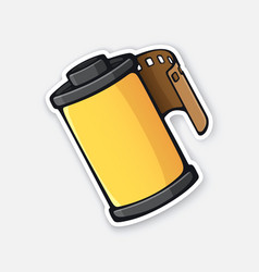 Photo film in yellow cartridge vector