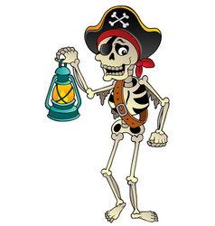 Pirate skeleton with lantern vector