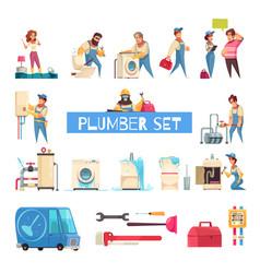 plumber cartoon set vector image