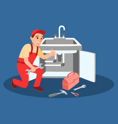 Plumber master with wrench fixing kitchen faucet vector