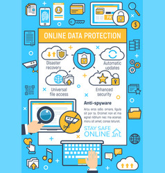 Poster of internet online data protection vector