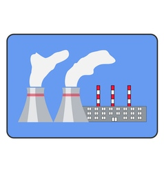 power plant icon flat style in frame vector image