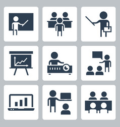 presentation and teaching related icon set vector image