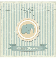 retro baby shower card with little elephant vector image