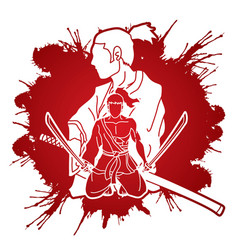 samurai warriors with swords action cartoon vector image