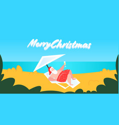 Santa claus sunbathing bearded man lying on sun vector