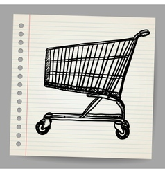 Scribble shopping cart vector