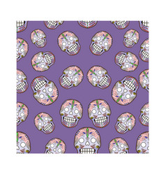 seamless pattern with celebratory skulls vector image
