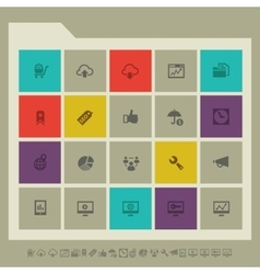 SEO icons set 2 Multicolored square flat buttons vector image