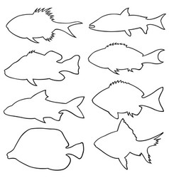 set different small fish silhouettes vector image