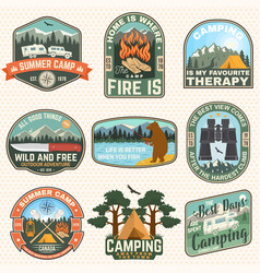 set outdoor adventure quotes patches vector image
