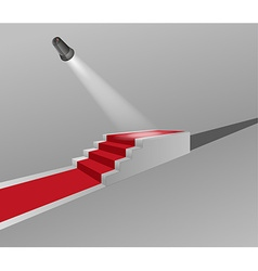 Stairs with red carpet and light vector