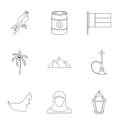 State of UAE icons set outline style vector image