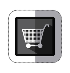 Sticker monochrome square with shopping cart vector